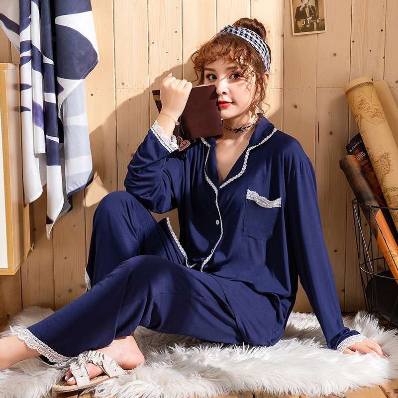 oversize modal sleepwear 2PCS pajamas female plus size home cloth long sleeve long pants casual homewear autumn winter pyjama