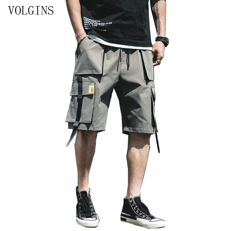 Streetwear 2020 Summer Casual Shorts Men Fashion Ribbons Pockets Cargo Shorts Bermuda Solid Hip Hop Men's Shorts