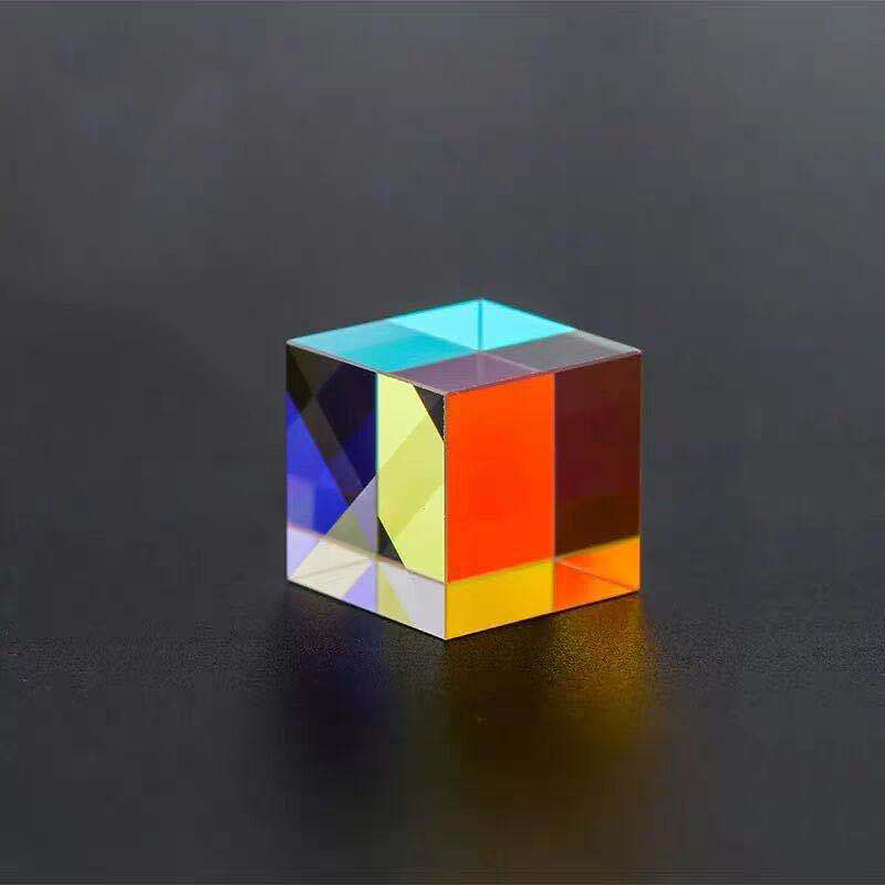 Six-Sided Bright Light Combine Cube Home Decoration Glass Optical Rainbow Cube Kid's Science Experiment