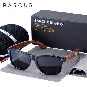 Image 1 - BARCUR באיכות גבוהה אגוז שחור משקפי שמש נגד Reflecti גברים נשים מראה שמש משקפיים זכר UV400 עץ גווני משקפי שמש Oculos