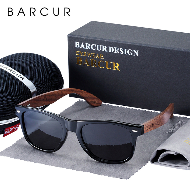 BARCUR באיכות גבוהה אגוז שחור משקפי שמש נגד Reflecti גברים נשים מראה שמש משקפיים זכר UV400 עץ גווני משקפי שמש Oculos