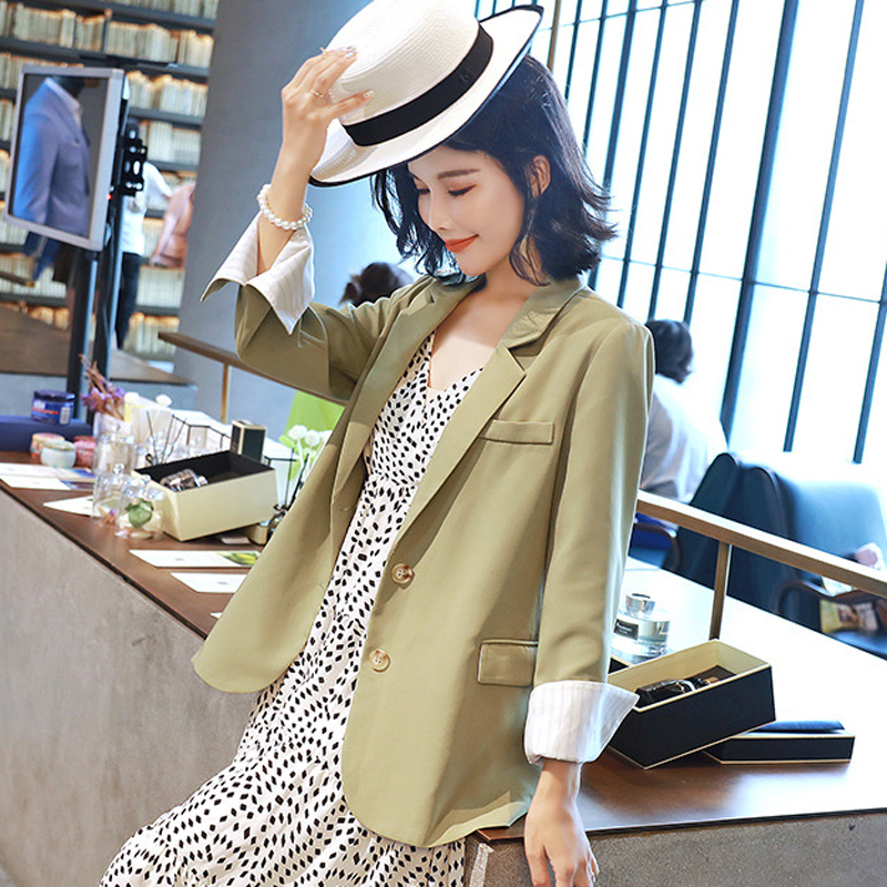 Casual Large Size Women's Jacket New Solid Color Single-breasted Loose Autumn Blazer Temperament Trendy Office Long-sleeved Top