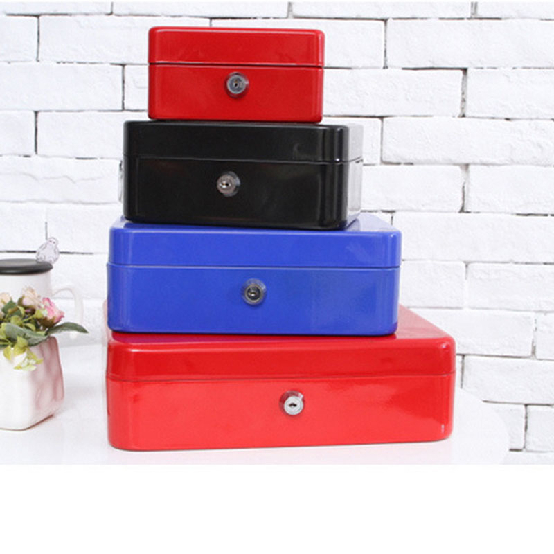 Portable Steel Safe Box Cash Jewelry Storage Collection Box For Home School Office With Compartment Tray Lockable Security Box L