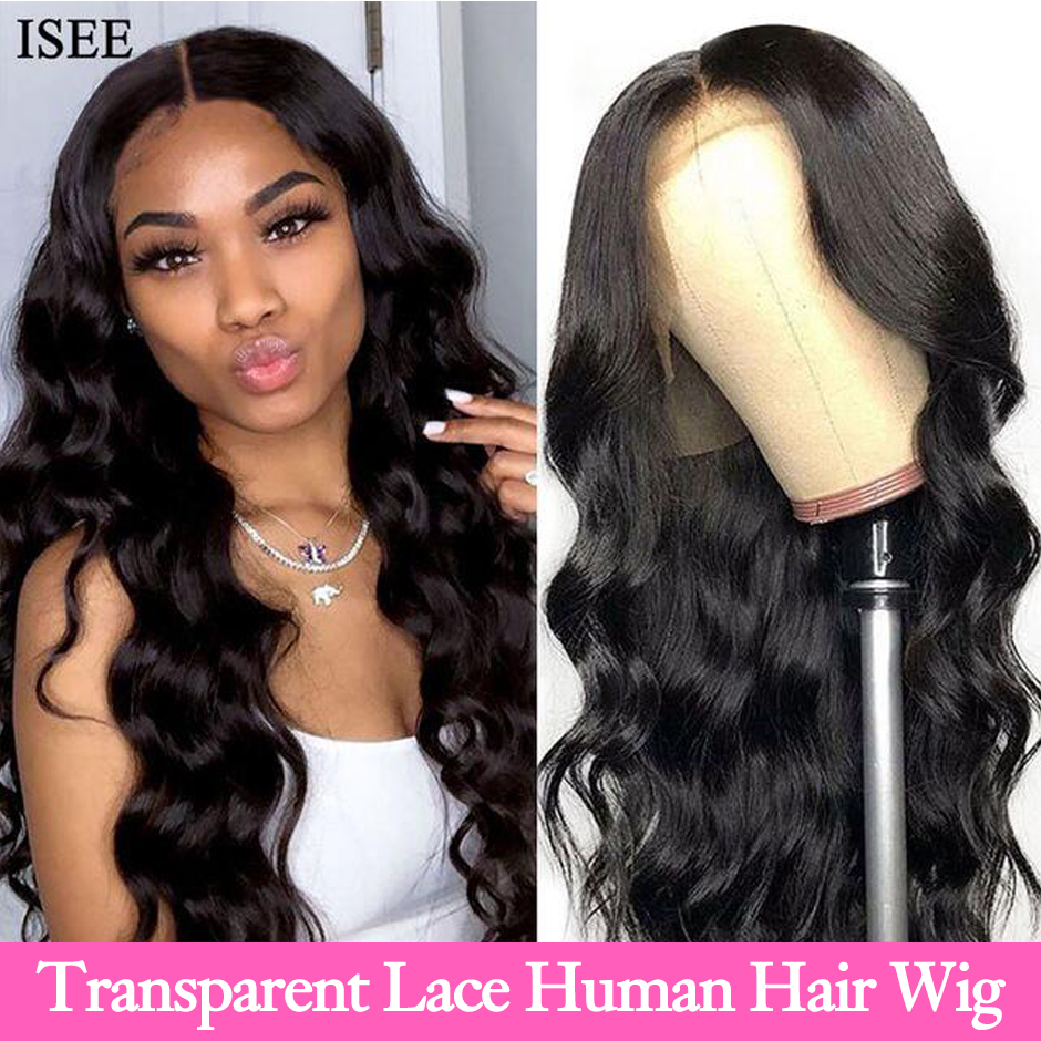 Body Wave HD Lace Frontal Wigs For Women Peruvian Body Wave Human Hair Wigs 150% Density ISEE HAIR Transparent Lace Front Wigs