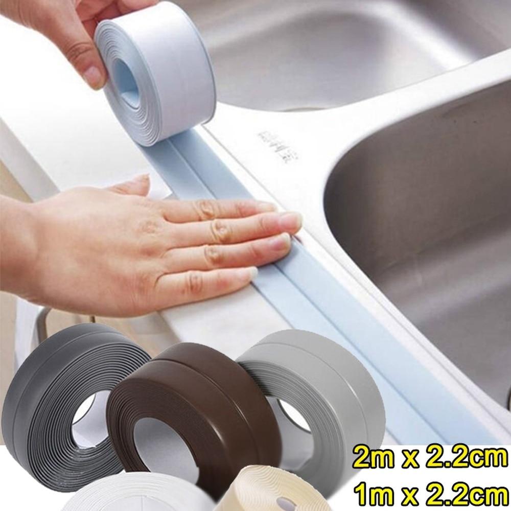 2021 2M*2.2CM  Bathroom Shower Sink Bath Sealing Strip Tape White PVC Self Adhesive Waterproof Wall Sticker for Bathroom Kitchen