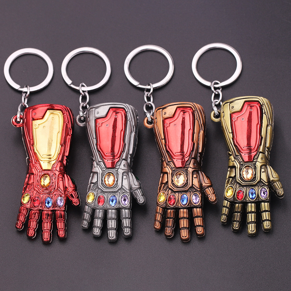 Anime Movie Marvel Avengers Figures Iron Man Gauntlet Keychain Toys Thanos Glove Gauntlet Thor Hammer Mjolnir Replica Kids Toys