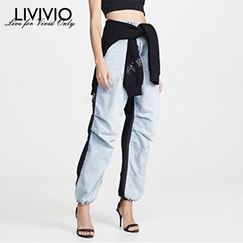 [LIVIVIO] Streetwear Patchwork Washed Vintage Denim Trouser For Women Jeans Female Loose Straight Pants 2019 Autumn Fashion New