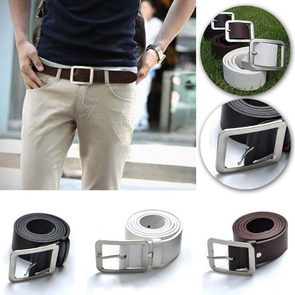 High Quality Designer Men Belt Faux Leather Belt Tactical Waist Belt Metal Studded Pin Buckle Casual Business
