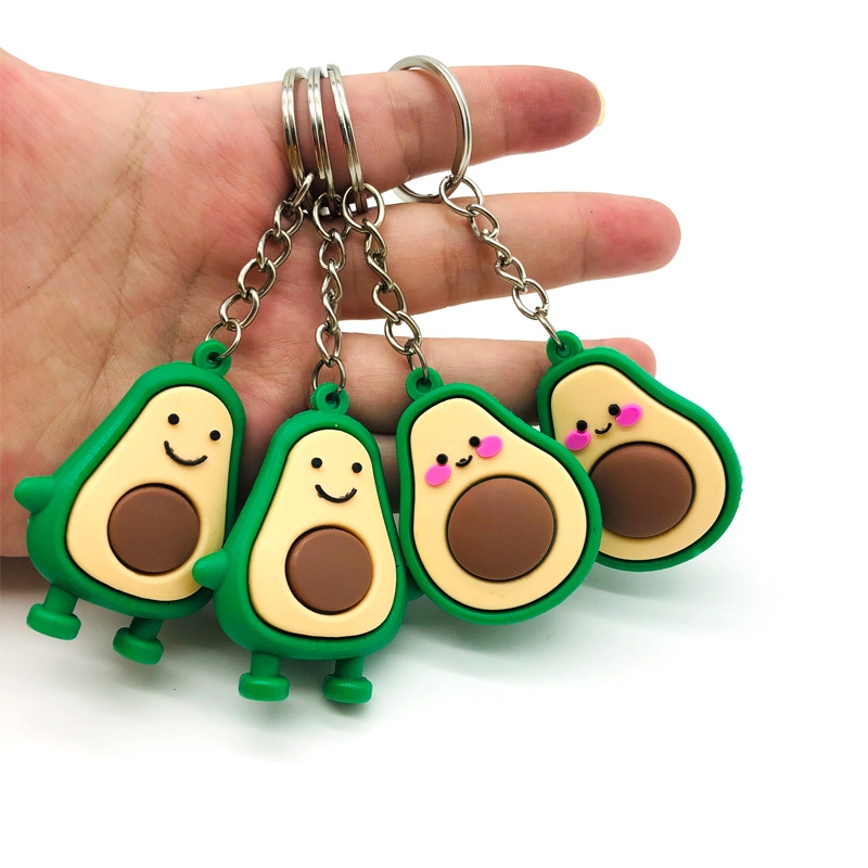 Fashion Simulation Fruit Shy Avocado Smile-shaped Keychain 3D Soft Resin Avocado Key Chains Jewelry Fashion Wedding Party Gift