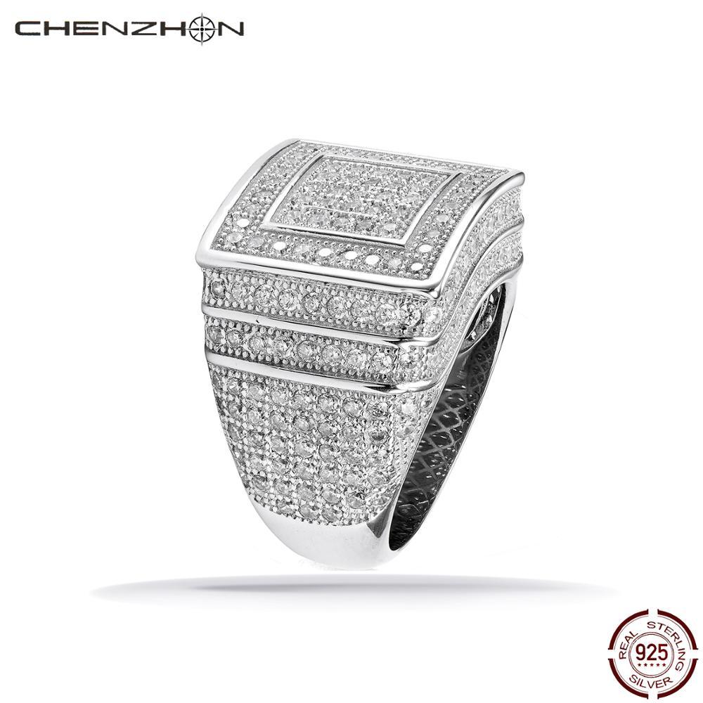 CHENZHON 925 argent anneaux pour hommes Hip Hop Rock anneaux grand Micro pavé CZ Bling Bling Punk bijoux 925 argent Sterling bijoux fins