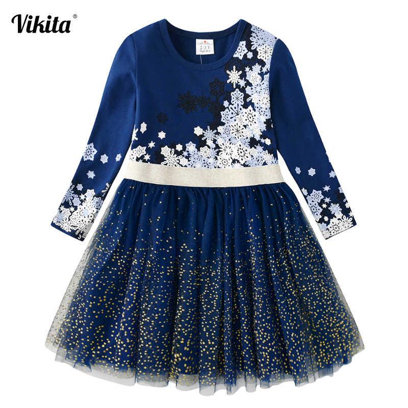 VIKITA ילדים שמלה עבור בנות ארוך שרוול ילדי מסיבת לבצע פאייטים שמלת ילדים נסיכת Unicorn Vestidos בנות פרח שמלות