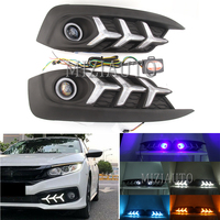 1 Set LED Car DRL For Honda Civci 10th 2016 2017 2018 Daytime Running Lights With Angel Eye Front Fog Light Auto Accessories