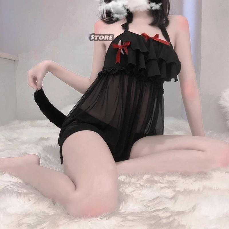 Japanese Swimsuit Cute Sexy Cosplay Costume Women Cute Black Cat & Powder Rabbit Swimsuit Summer Sukumizu Cat Costume Woman