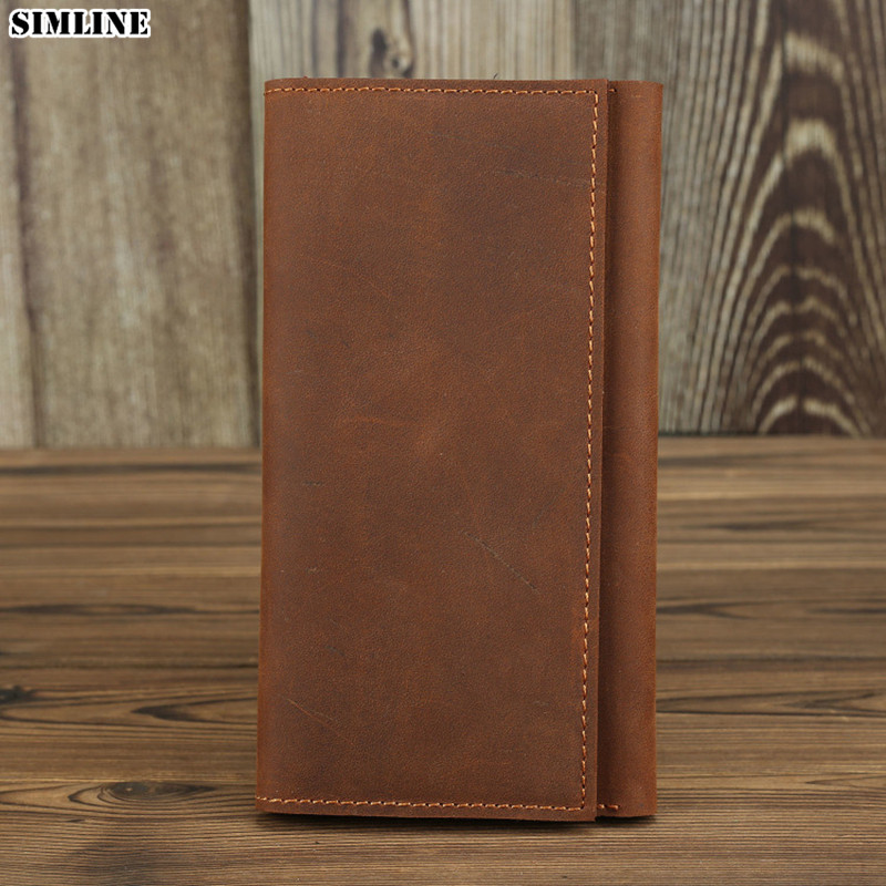 Genuine Leather Wallet For Men Male Vintage Crazy Horse Cowhide Long Wallets Purse Card Holder Passport Cover Coin Pocket Bag