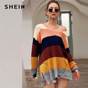 Image 4 - SHEIN çizgili bırak omuz uzun kazak kadın üstleri 2019 sonbahar Streetwear uzun kollu V boyun büyük boy bölünmüş kazak