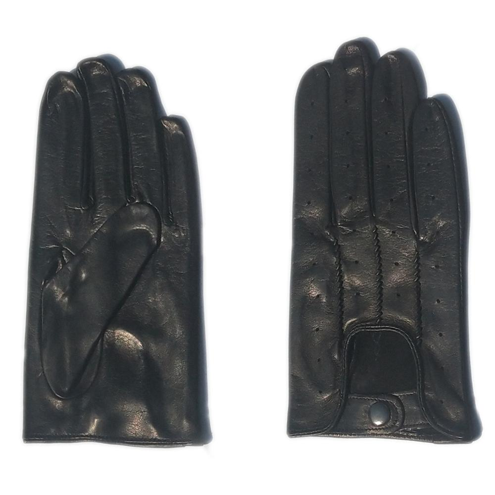 men new wrist three buttons top real Italy whole piece of leather black gloves