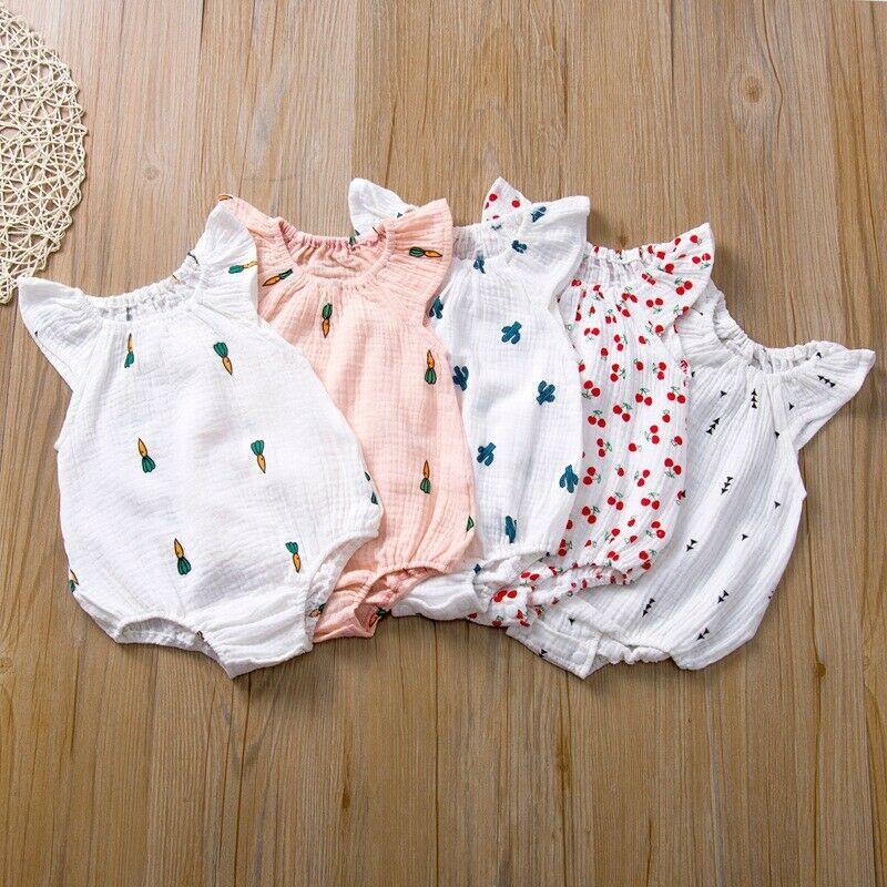 Summer Infant Toddler Baby Girl One-piece Flying Sleeve Cherry-Radish Print Bodysuits Jumpsuit Babies Cotton Linen Outfits 0-24M