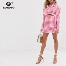 ROHOPO Double Buttons White Pink Plaid Slim Crop Blazer Notched Collar Autumn Ladies Short Outwear #9580