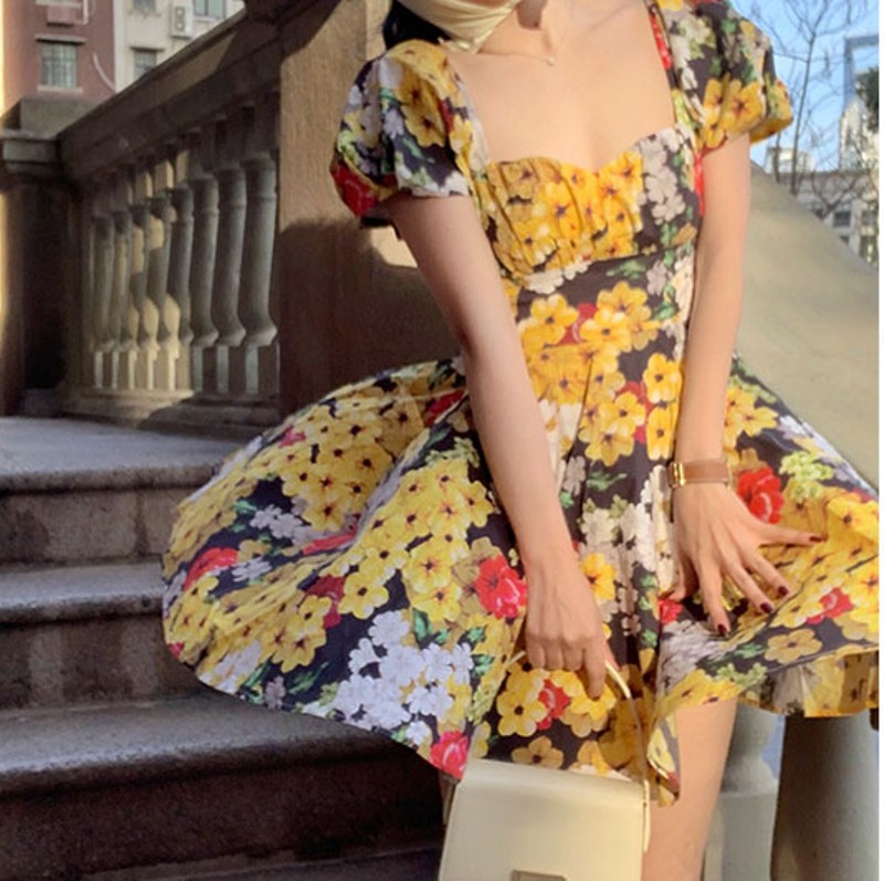 2020 Summer  New Sexy  Women  Square Collar Floral Dress  Puff Sleeve   Printed Dress  Bohemia  Style Dresses