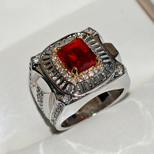 Hot Sale Big Silver Ring with Bling Red Zircon Stone for Women Wedding Engagement Fashion Jewelry 2019 New