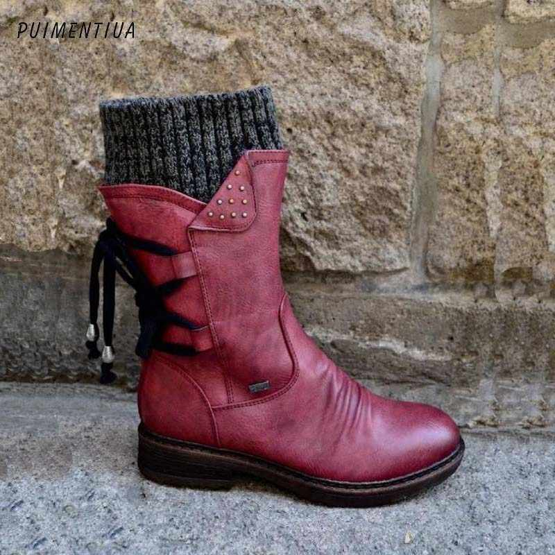2020 Hot New Autumn Early Winter Shoes Women Flat Heel Boots Fashion Knitting Patchwork Women's Boots Woman Short Botas