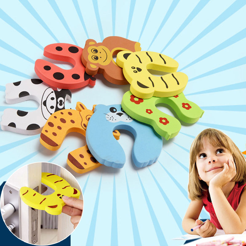 7Pcs/Lot Child Protection Baby Safety Cute Animal Security Door Stop Baby Card Lock Newborn Care Child Finger Protector