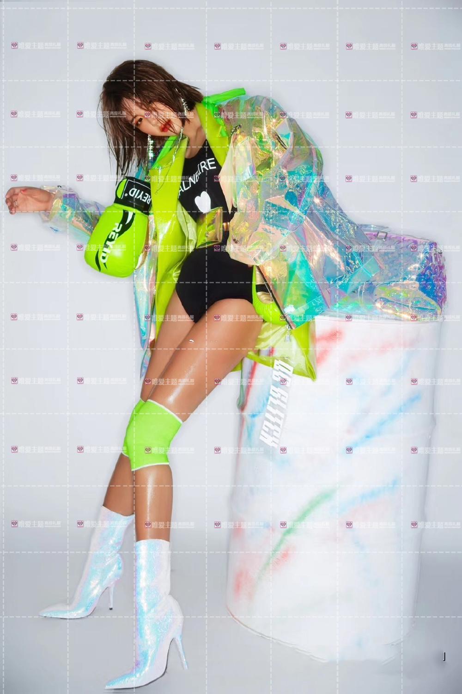 Hologramme paillettes femmes à la mode desserrer veste Bling Laser manteaux réfléchissants Punk danse Hip Hop veste annonces modèle holographique ensemble - 4