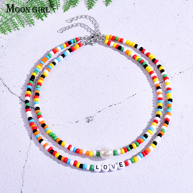 Seed Beads Love Necklace Sets for Women Choker Multilayer with Name Fashion Pearl Boho Vintage Streetwear Collier Femme 1