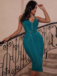 Ocstrade Bandage-Dress Celebrity Evening-Club Backless Bodycon HALTER Green Fashion