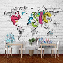 Milofi custom wallpaper wall cloth 3D world map Nordic graffiti background wall background wall painting