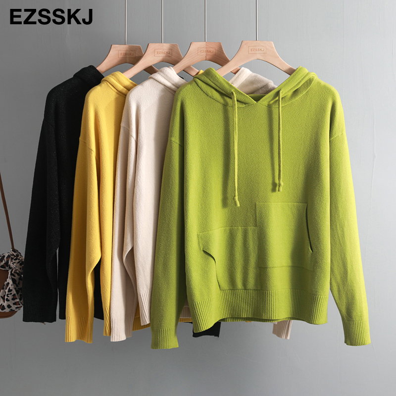 Autumn Winter Warm Oversize Hooded Sweater Pullovers Women Soft Knit Jumper Top Solid Loose Casual Sweater With Pocket Female
