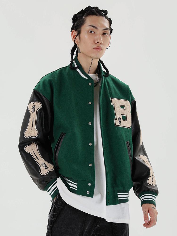 Jackets Mens Baseball-Coats Color-Block Aelfric Eden Harajuku-Streetwear Bone-Patchwork