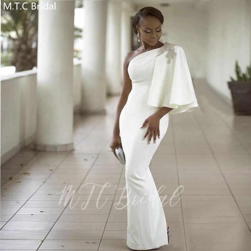 화이트 한 어깨 아프리카 신부 들러리 드레스와 크리스탈 하프 슬리브 인어 플러스 크기 블랙 걸스 웨딩 파티 드레스