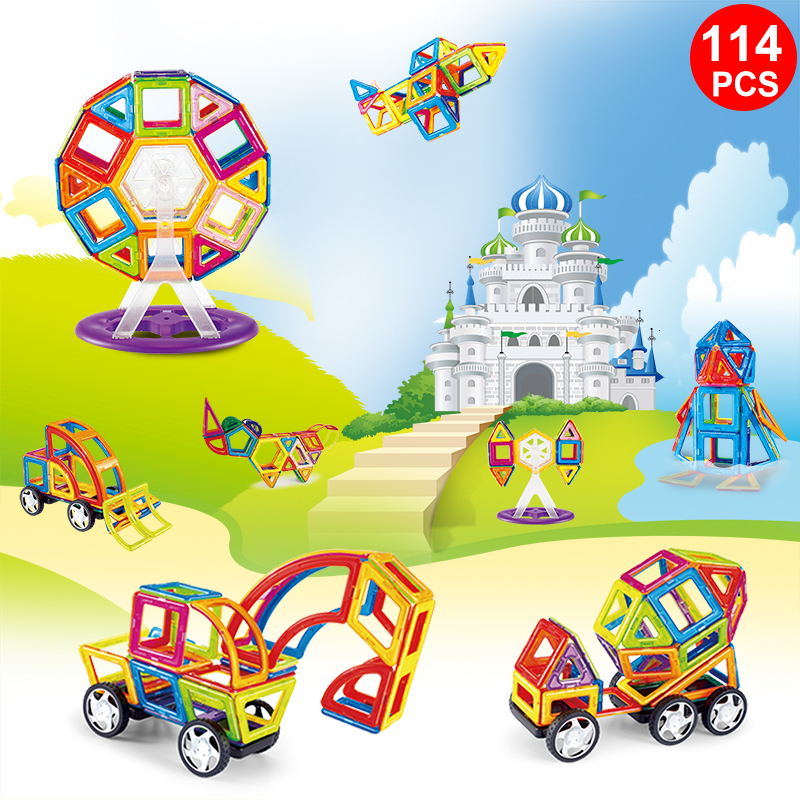 114PCS Magnetic Building Blocks Educational Tiles Kit  Magnet Designer Construction Toys Set For Kids Gfit MAGBROTHER