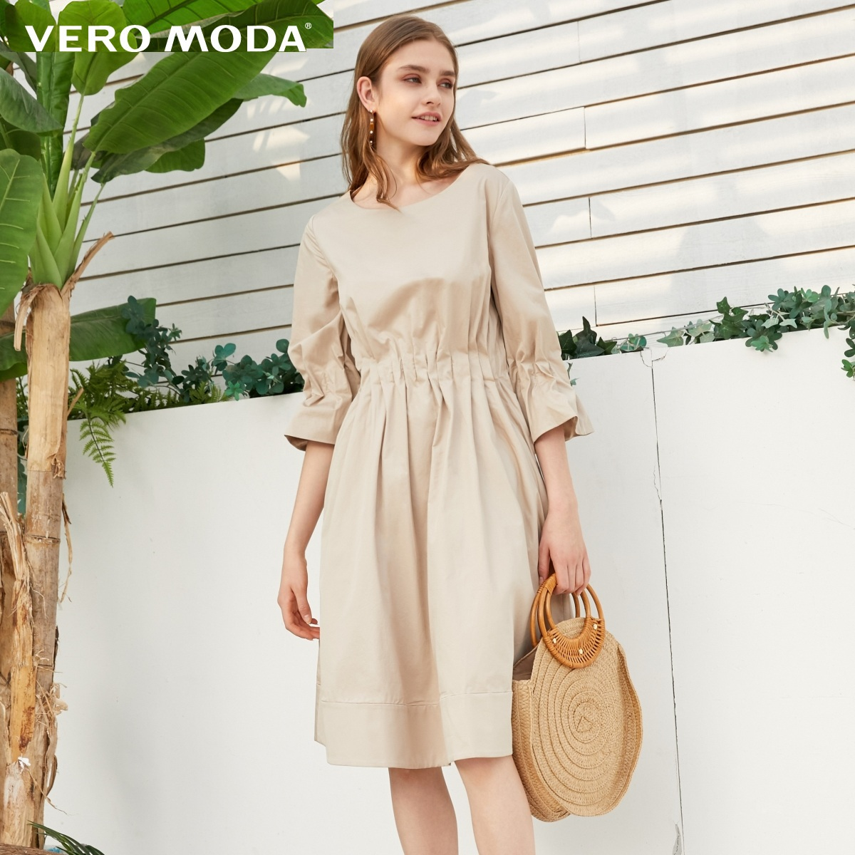Vero Moda 100% Cotton Prairie Chic Elasticized Waist Pure Color Dress | 31916Z512