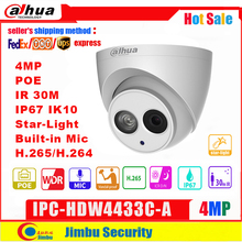 Dahua IP מצלמה 4MP IPC HDW4433C A IR30 מיני מצלמה POE אור כוכבים H265 H264 מובנה מיקרופון cctv רשת מרובה שפה כיפה