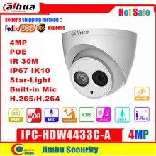 Сетевой видеорегистратор Dahua IP Камера 4MP IPC HDW4433C A IR30 мини Камера POE звездного неба, H265 H264 Встроенный микрофон cctv сеть несколько языков на купол