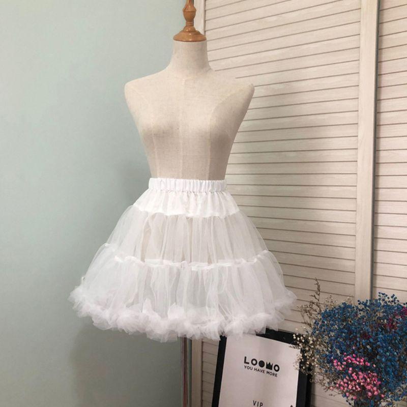 Short Petticoat Tutu-Skirt Crinoline Bubble Puffy No-Hoop White-Color Women Half-Slip