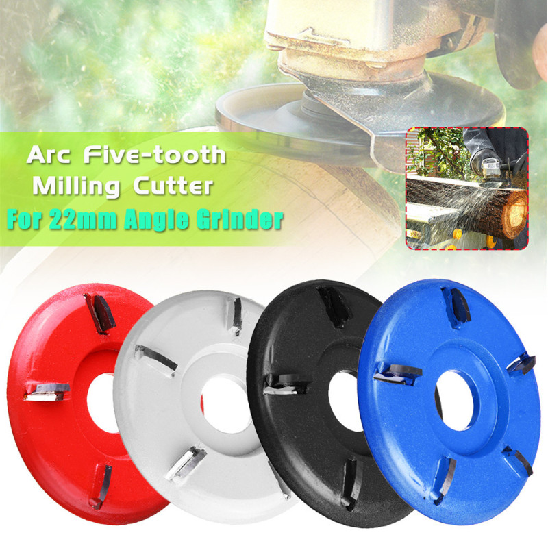 ALLSOME Five-tooth ARC Wood Turbo Carving Disc Tool Milling Cutter For 22mm Angle Grinder HT2876