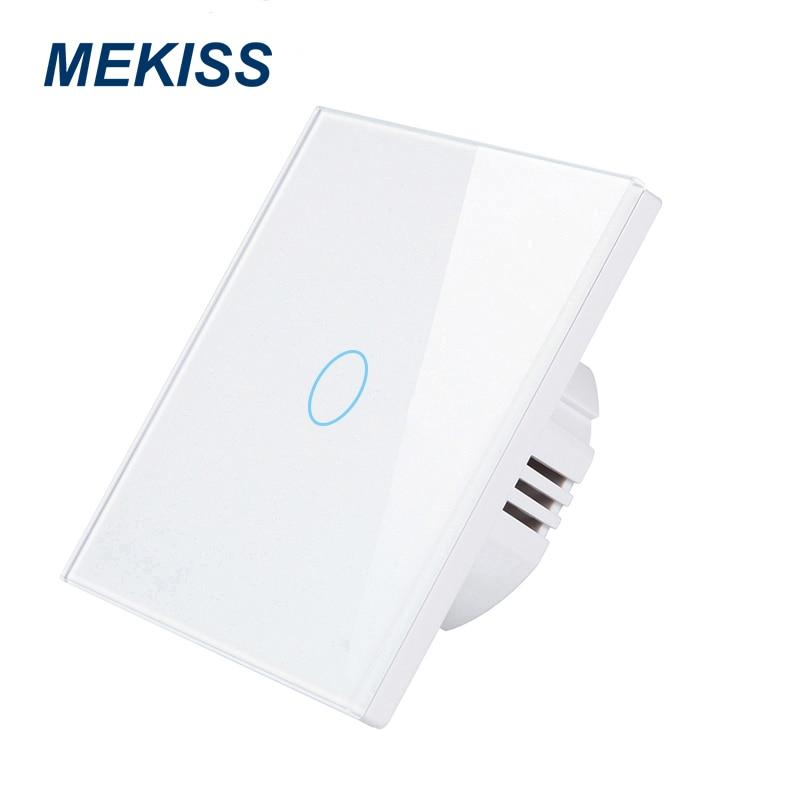MEKISS EU Touch switch toughened glass panel light switch interrupter 1gang2gang3gang AC110V 220V family wall sticker install