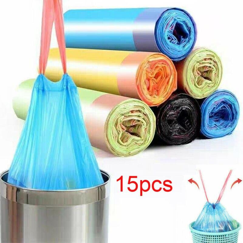 15pcs/roll Kitchen Garbage Bags With Drawstring 60L Bin Bags Garbage Bags With Handle Drawstring Bathroom Trash Bag