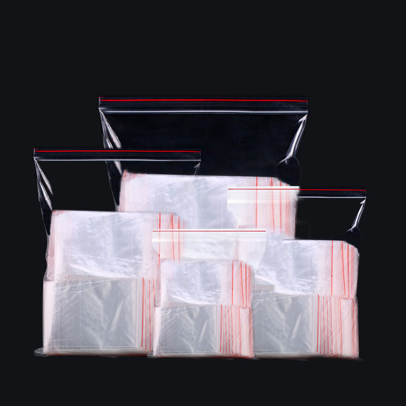 200pcs/lot Transparent Plastic Zipped Lock Bags Clear Food Storage Package Bag Reclosable PE Packing Bags Small Jewelry Packing