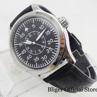 Relógio de pulso preto mecânico masculino nologo safira vidro 42mm redondo ss assista caso movimento automático Relógios mecânicos     -