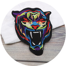 Jeans Animal Patches Applique Tiger Embroidered Large Cartoon Clothing Sewing-Decals
