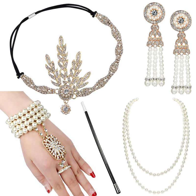 Женский комплект аксессуаров 1920-х годов Great Gatsby, ободок с оборками, жемчужное ожерелье, браслет, серьги, держатель для сигарет