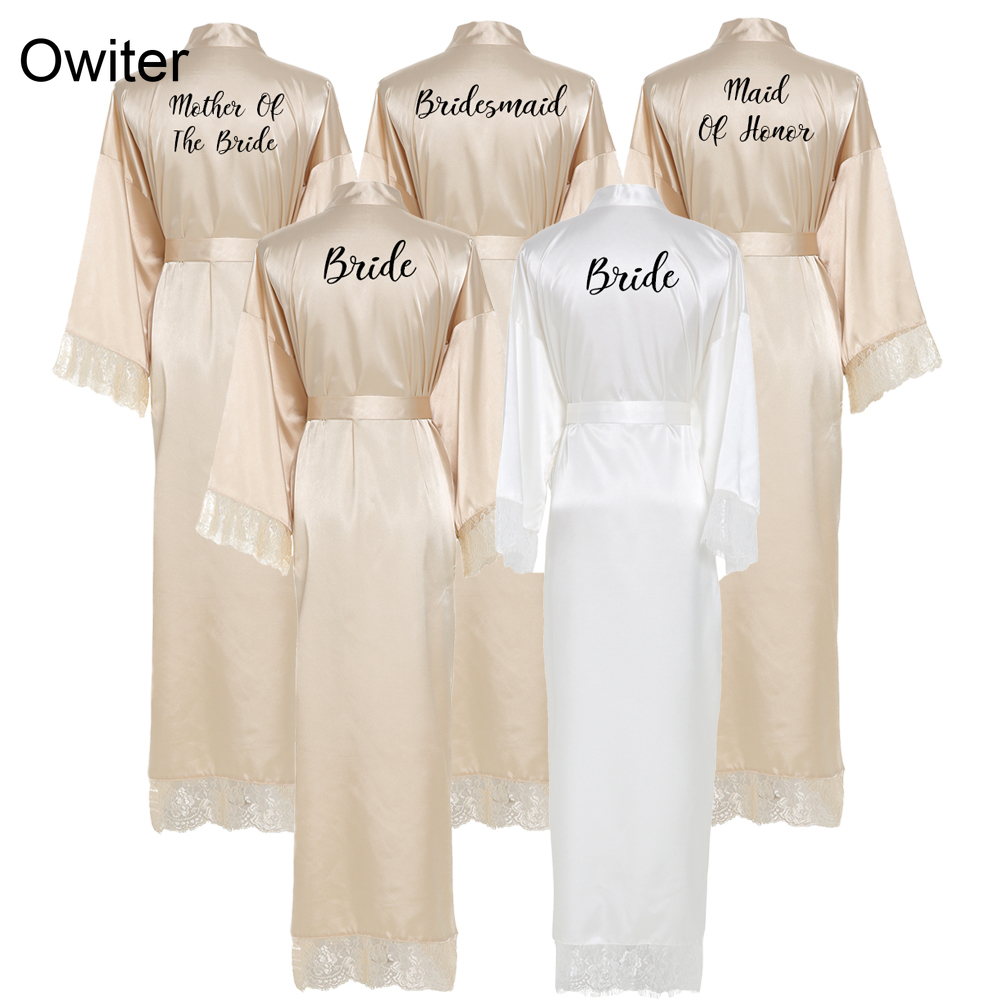 Owiter Bridesmaid Champagne Large Plain Mother Bride Kimono Silk Satin Lace Night Dress Gown Wedding Robes Bathrobe Ladies Robe