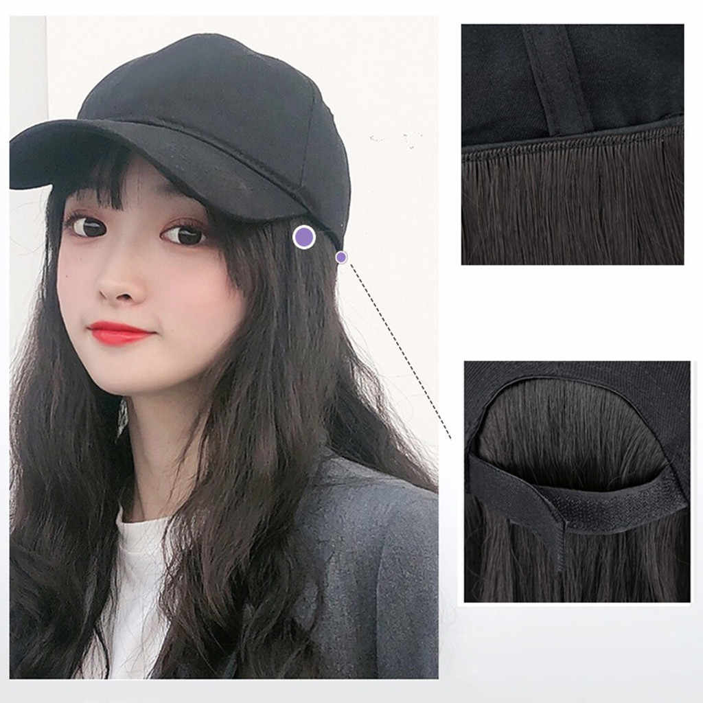 New Baseball Cap with Long Wavy Hair Extensions Black Cap with Long Synthetic Hair Extensions for Girls Easy to Wear#g3