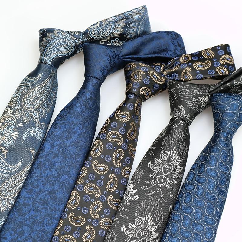 7CM Mens Ties Polyester Silk Floral Paisley Formal Dress Gravata Corbatas Wedding Business Necktie Classic Neck Ties For Men