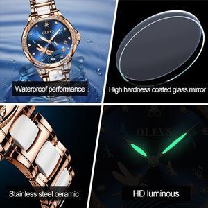 Image 4 - OLEVS נשים שעון מכאני קרמיקה ריינסטון תאריך שעוני יוקרה צמיד עמיד למים שעוני יד אלגנטי אוטומטי שעון