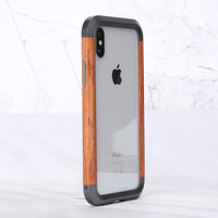 Metal wood fusion phone case For Iphone XS MAX XS X cover Rosewood add metal border business Simple case